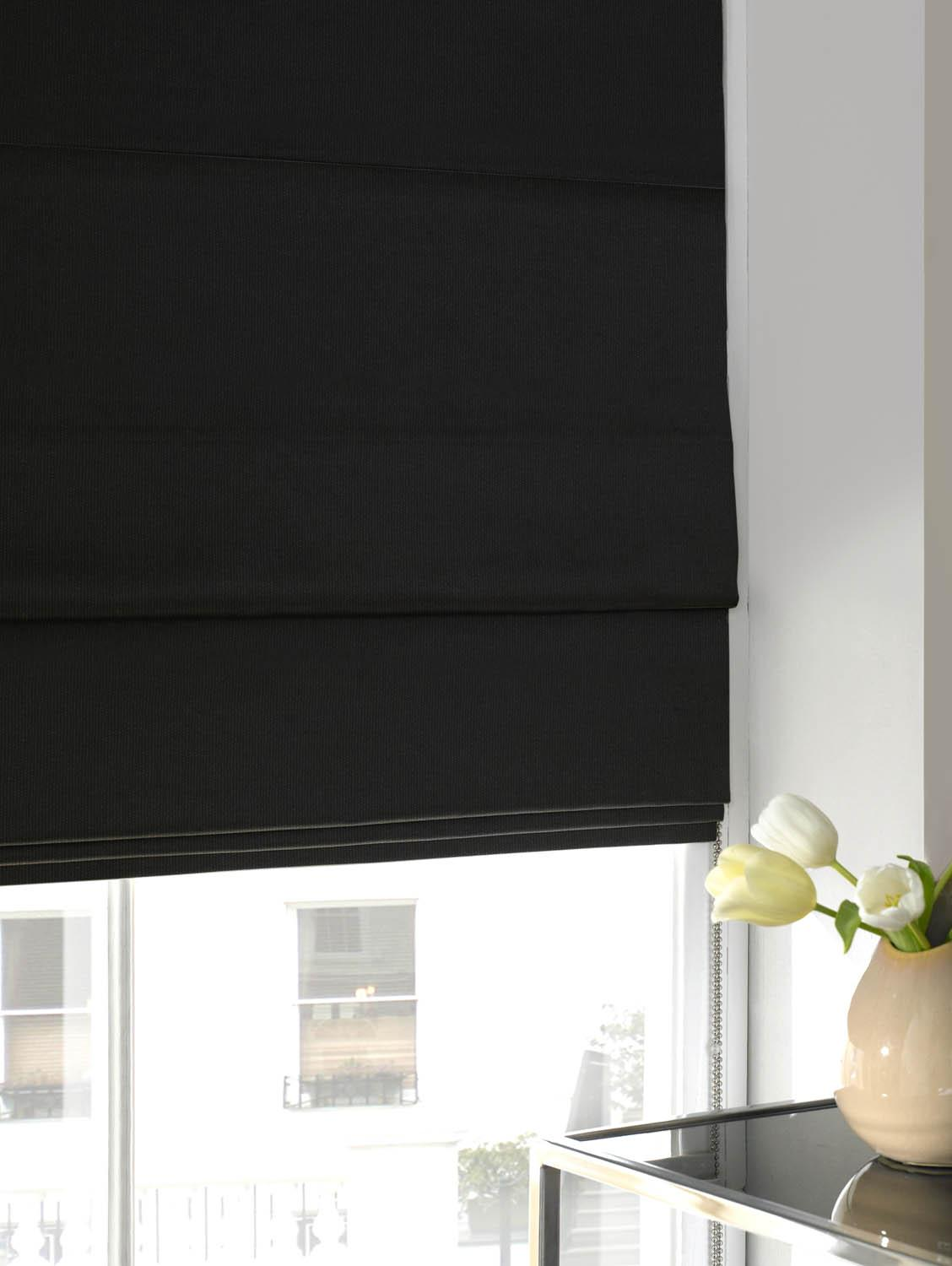 Stockists of Black Panama Roman Blind