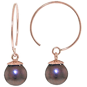 Bargain Black Pearl Eclipse Circle Wire Earrings 4.0ctw in 9ct Rose Gold Stockists