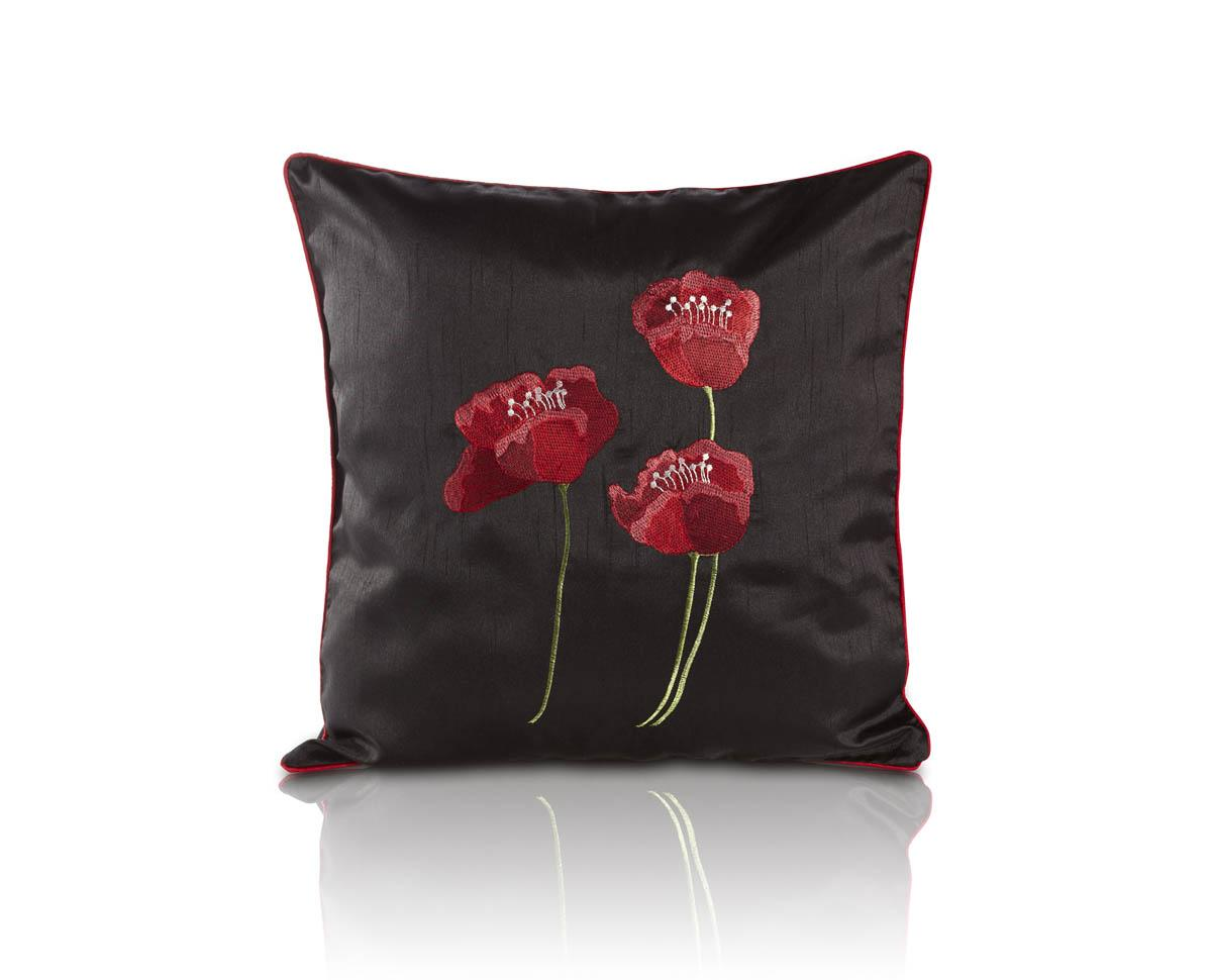 Stockists of Black Poppies Cushion Filled