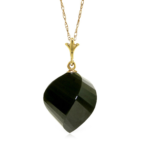 Bargain Black Spinel Briolette Pendant Necklace 15.5ct in 9ct Gold Stockists