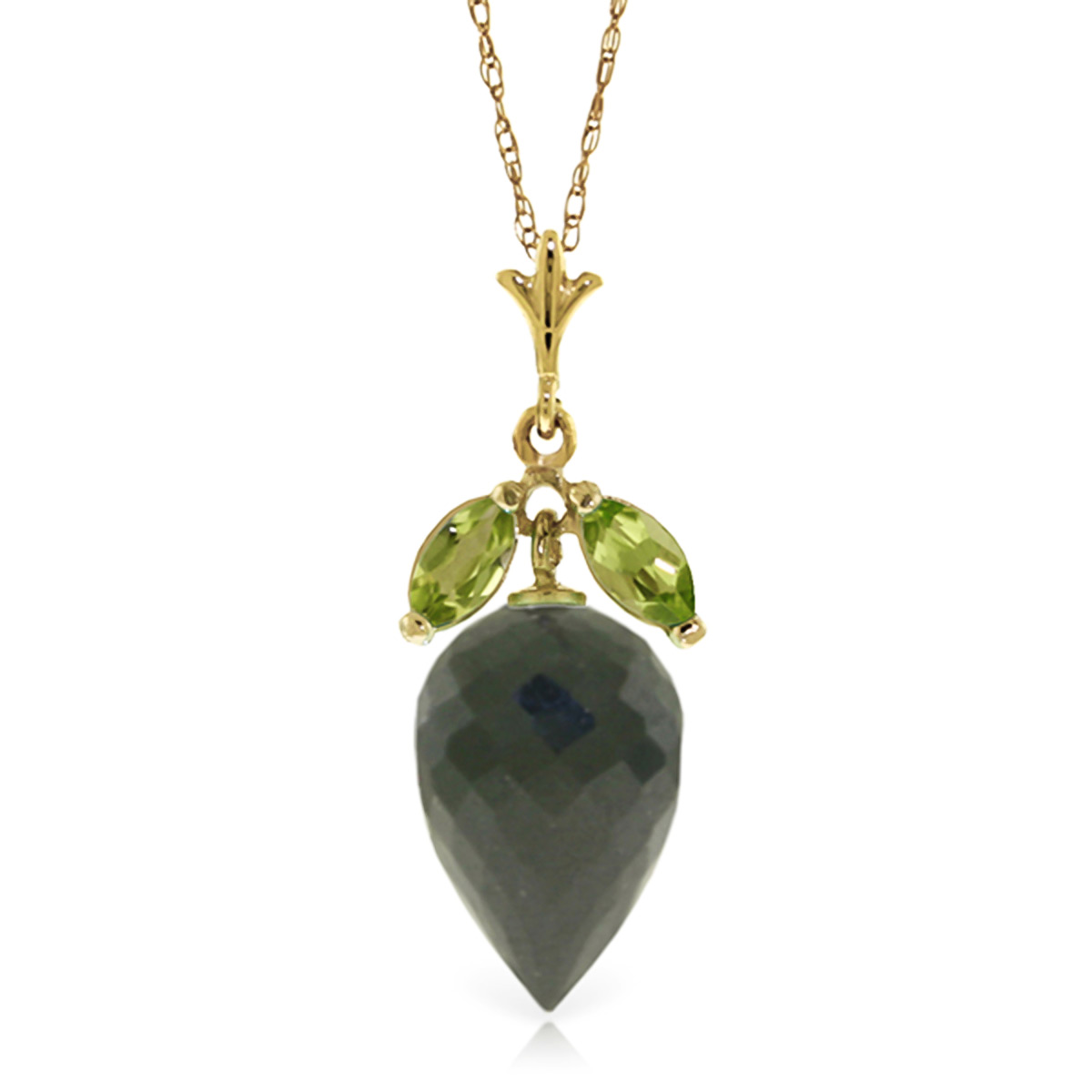 Bargain Black Spinel and Peridot Pendant Necklace 12.75ctw in 9ct Gold Stockists