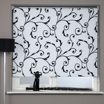 Stockists of Black and White Virginia Blackout Roller Blind