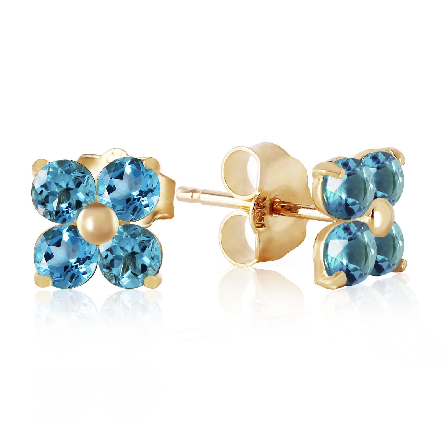 Bargain Blue Topaz Clover Stud Earrings 1.15ctw in 9ct Gold Stockists