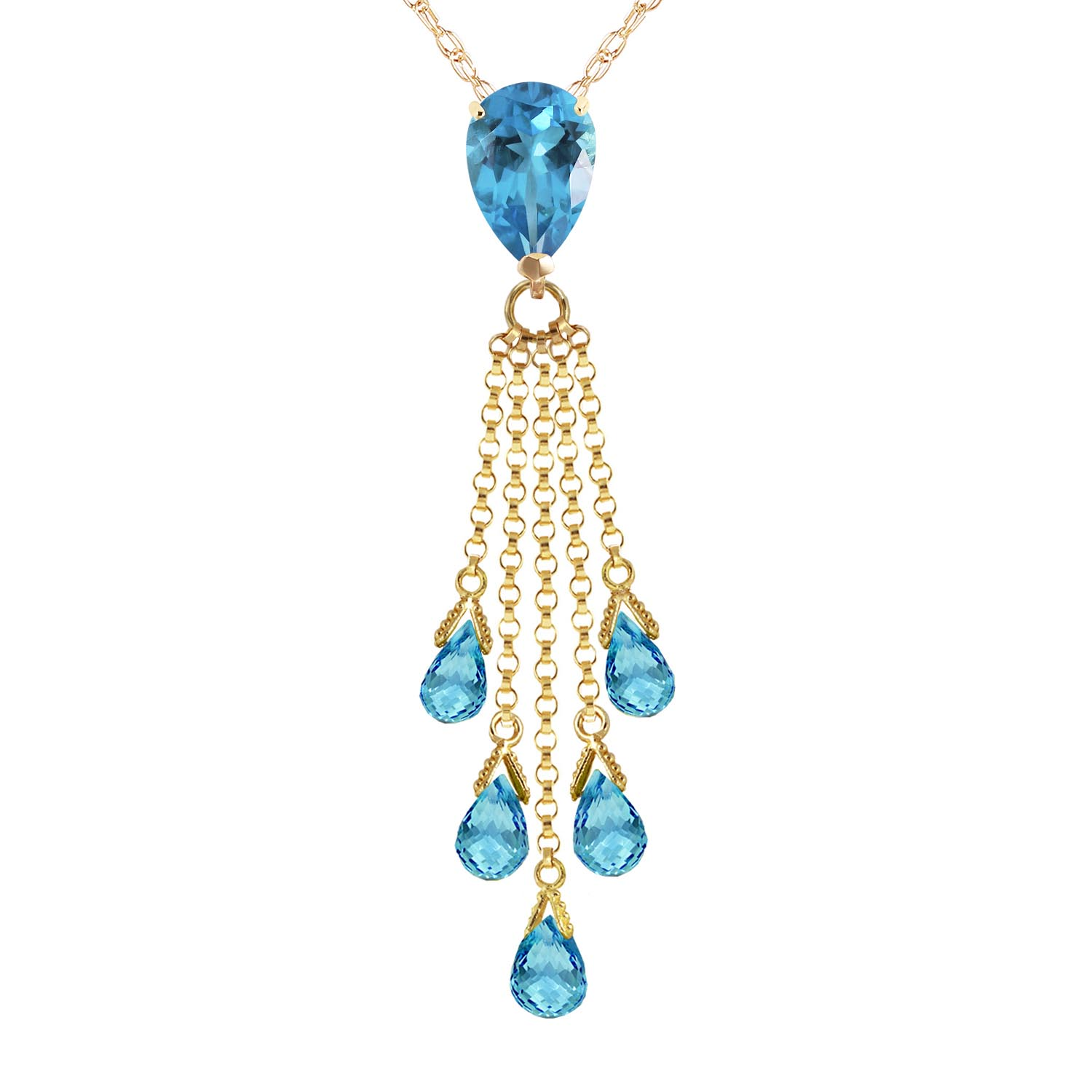 Bargain Blue Topaz Comet Tail Pendant Necklace 7.5ctw in 9ct Gold Stockists