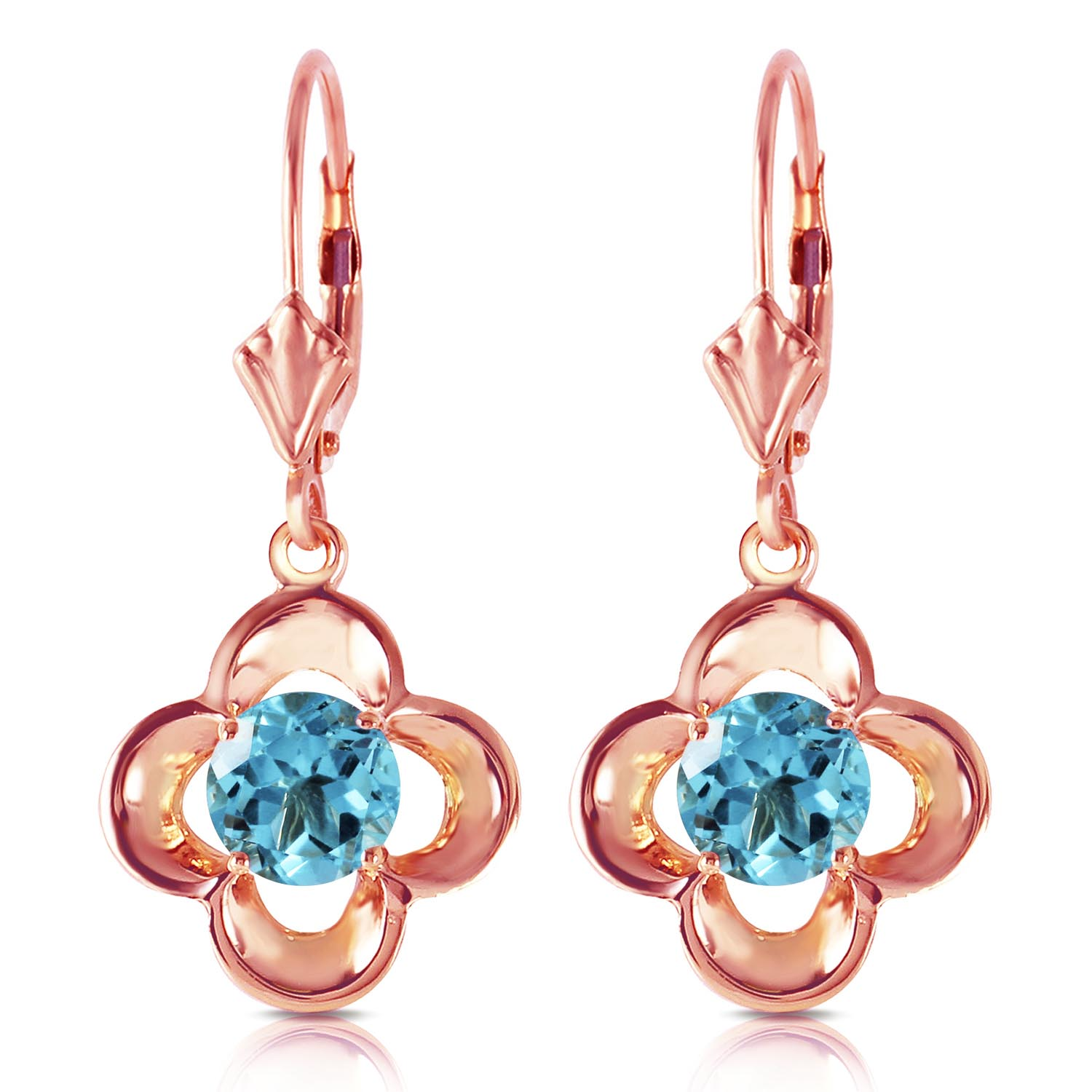 Bargain Blue Topaz Corona Drop Earrings 1.1ctw in 9ct Rose Gold Stockists