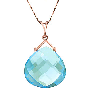 Bargain Blue Topaz Elliptical Heart Pendant Necklace 8.5ct in 9ct Rose Gold Stockists