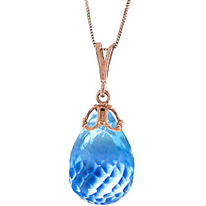 Bargain Blue Topaz Tiara Briolette Pendant Necklace 10.25ct in 9ct Rose Gold Stockists