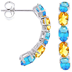 Bargain Blue Topaz and Citrine Linear Stud Earrings 2.5ctw in 9ct White Gold Stockists