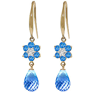 Bargain Blue Topaz and Diamond Daisy Chain Drop Earrings 5.45ctw in 9ct Gold Stockists