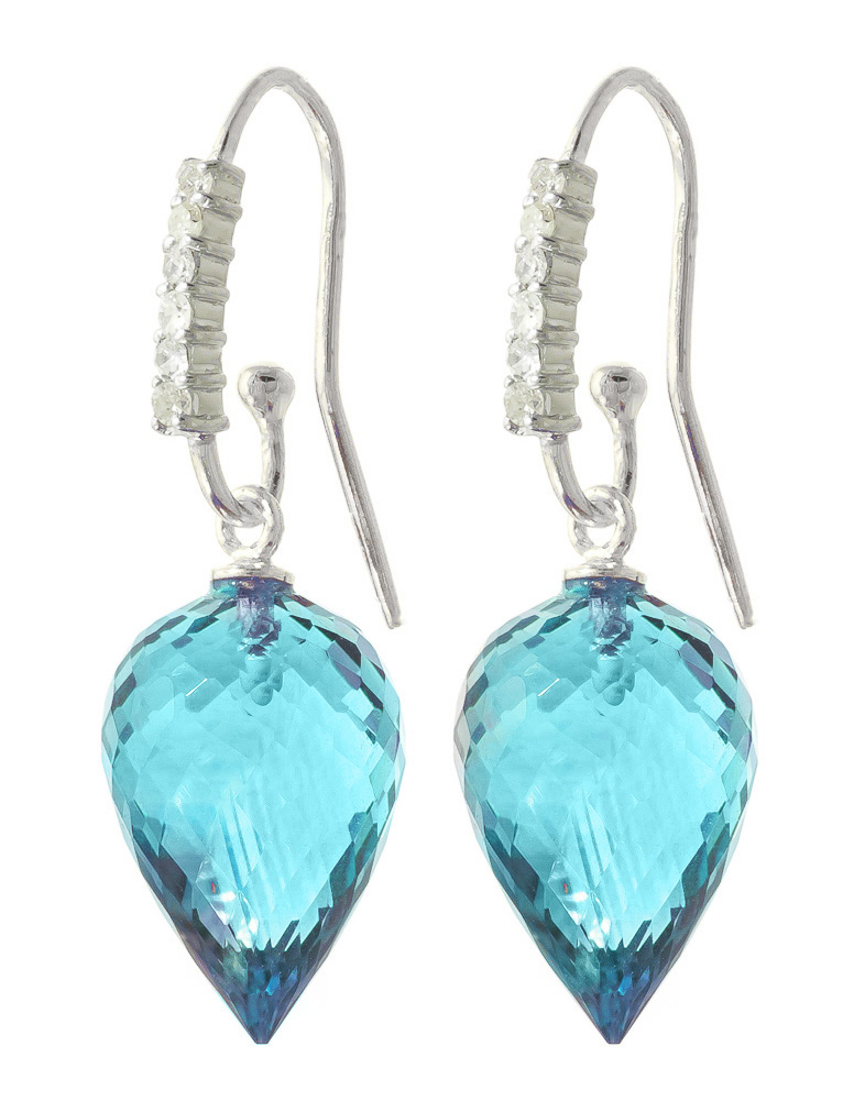 Bargain Blue Topaz and Diamond Drop Earrings 22.5ctw in 9ct White Gold Stockists