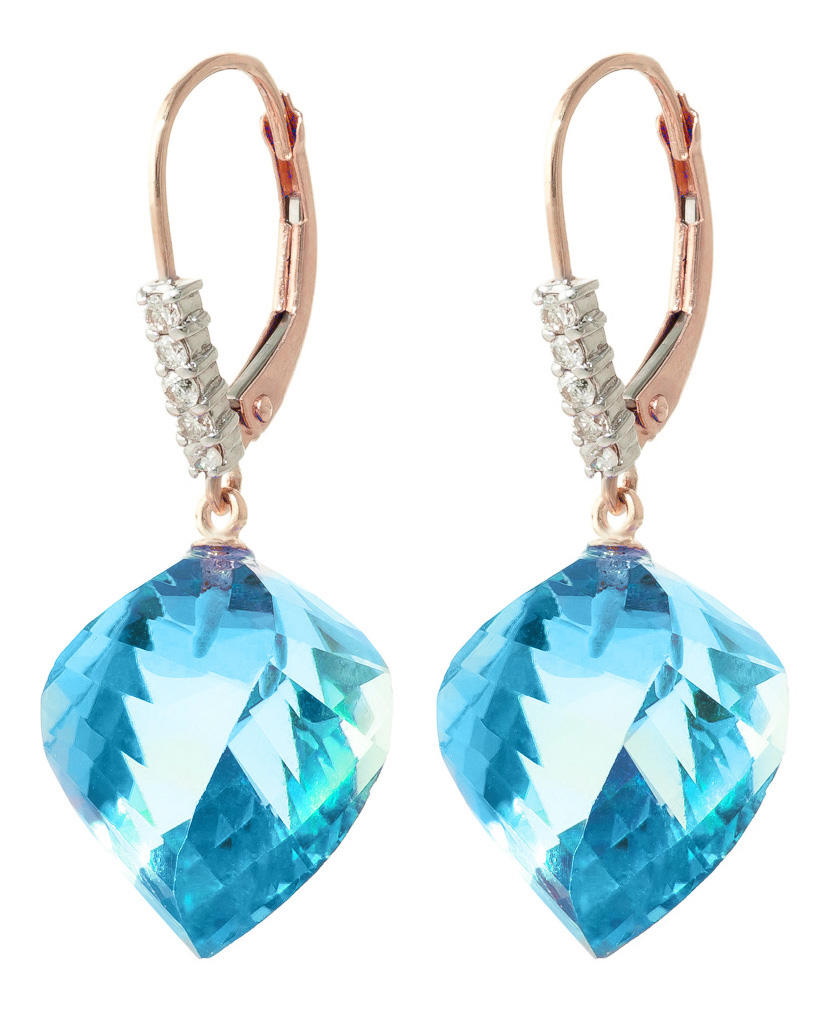 Bargain Blue Topaz and Diamond Drop Earrings 27.85ctw in 9ct Rose Gold Stockists
