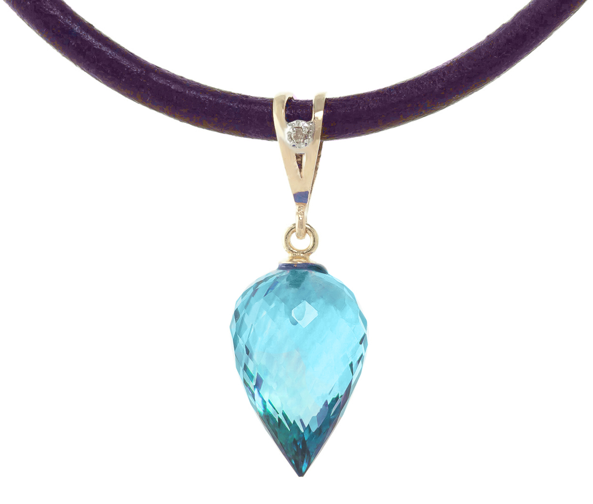 Bargain Blue Topaz and Diamond Leather Pendant Necklace 11.25ct in 9ct Gold Stockists