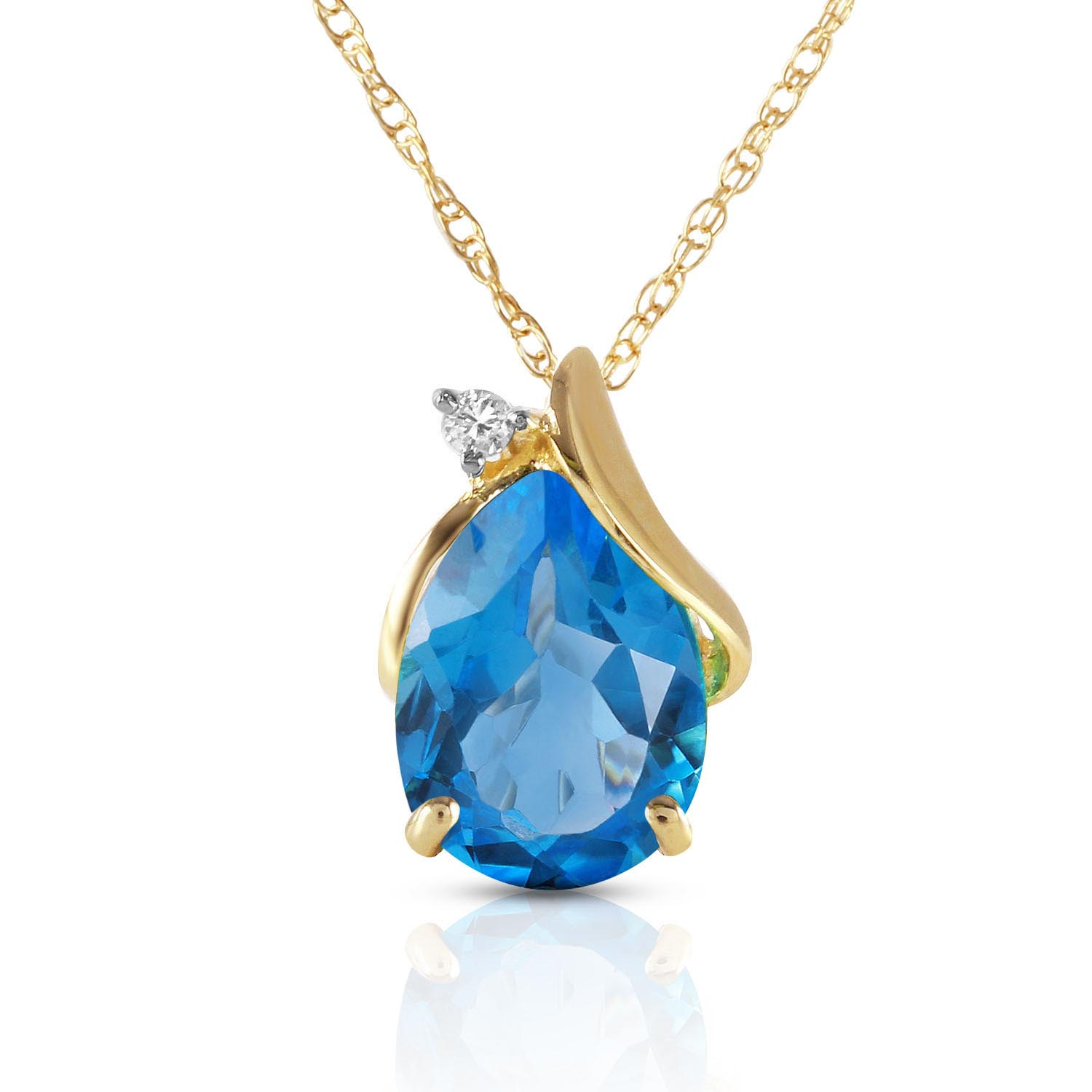 Bargain Blue Topaz and Diamond Pendant Necklace 2.5ct in 9ct Gold Stockists