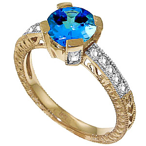 Bargain Blue Topaz and Diamond Renaissance Ring 1.5ct in 9ct Gold Stockists