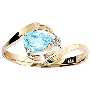 Bargain Blue Topaz and Diamond Ring 0.5ct in 9ct Gold Stockists