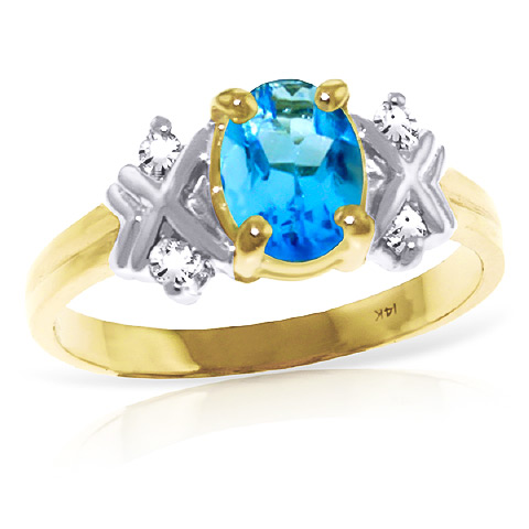 Bargain Blue Topaz and Diamond Ring 0.85ct in 9ct Gold Stockists