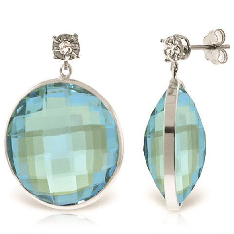 Bargain Blue Topaz and Diamond Stud Earrings 46.0ctw in 9ct White Gold Stockists