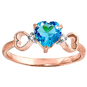 Bargain Blue Topaz and Diamond Trinity Ring 0.95ct in 9ct Rose Gold Stockists