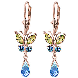 Bargain Blue Topaz and Peridot Butterfly Drop Earrings 2.74ctw in 9ct Rose Gold Stockists