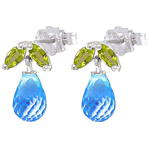 Bargain Blue Topaz and Peridot Snowdrop Stud Earrings 3.4ctw in 9ct White Gold Stockists