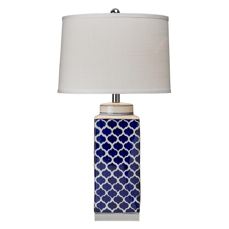 Bargain Blue / White Aslan Table Lamp Stockists