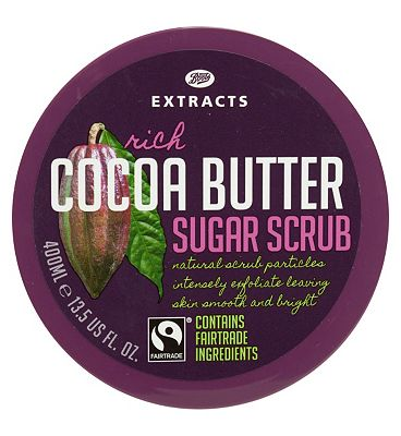 Bargain Boots Extracts [Cocoa Butter Sugar Scrub] 400ml Containing Fairtrade ingredients Stockists