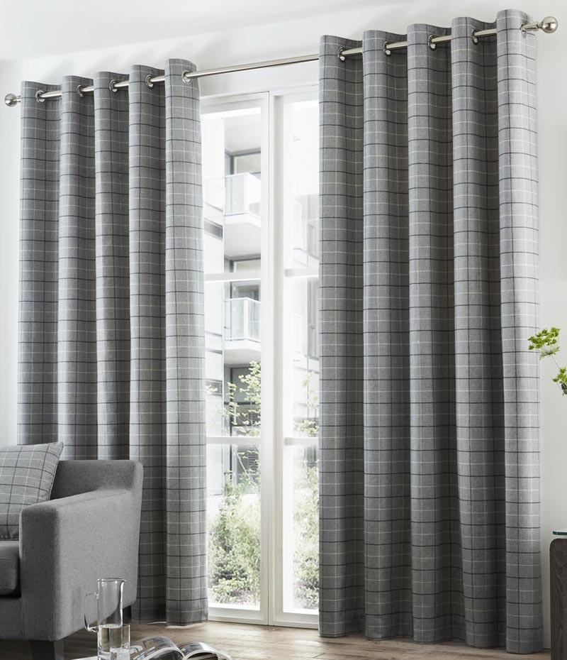 Bargain Charcoal Braemar Check Readymade Eyelet Lined Curtains Stockists