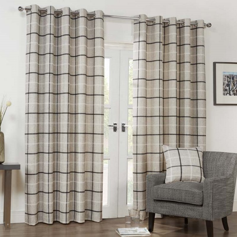 Bargain Charcoal Kendal Ready Made Lined Eyelet Curtains Stockists