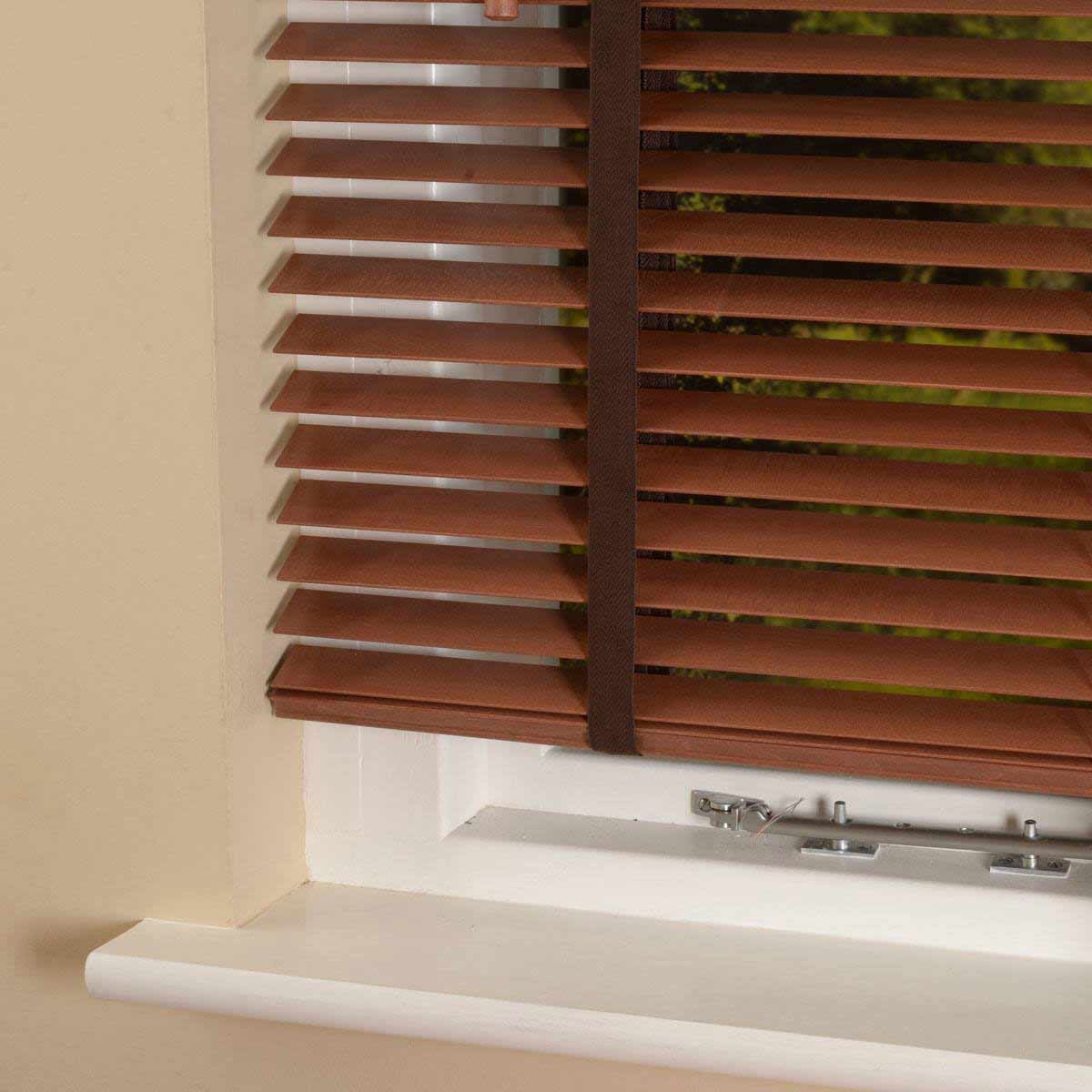 Bargain Chestnut 35mm Elementi Wood Venetian Blind With Tapes Stockists