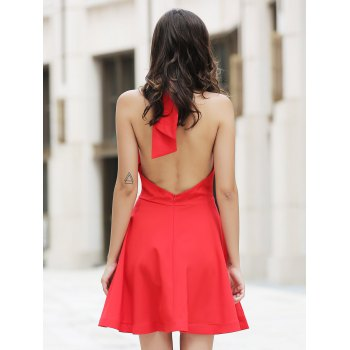 Bargain Chic High Neck Backless Red Sleeveless Dress For Women Stockists