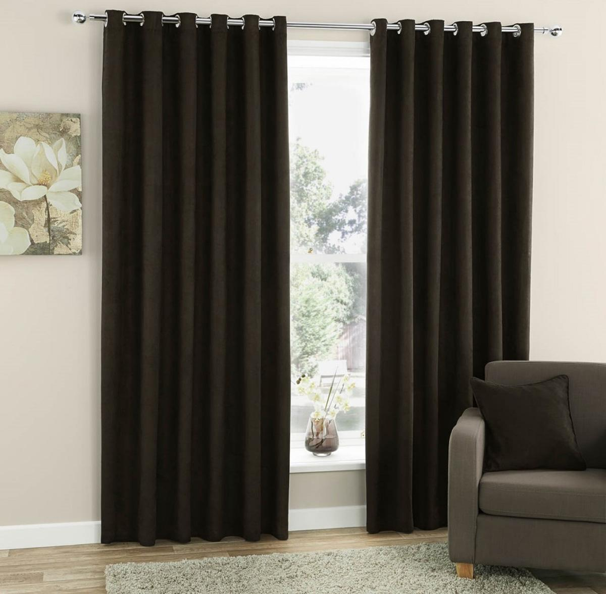 Stockists of Chocolate Faux Suede Ready Made Eyelet Curtains