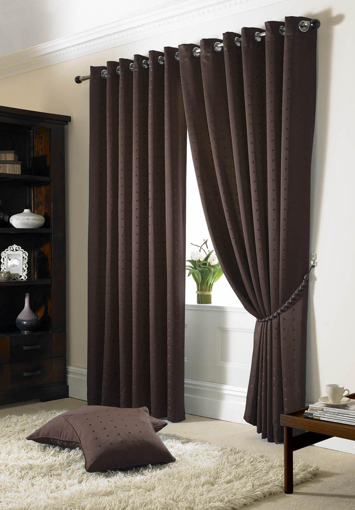 Stockists of Chocolate Madison Eyelet Lined Curtains
