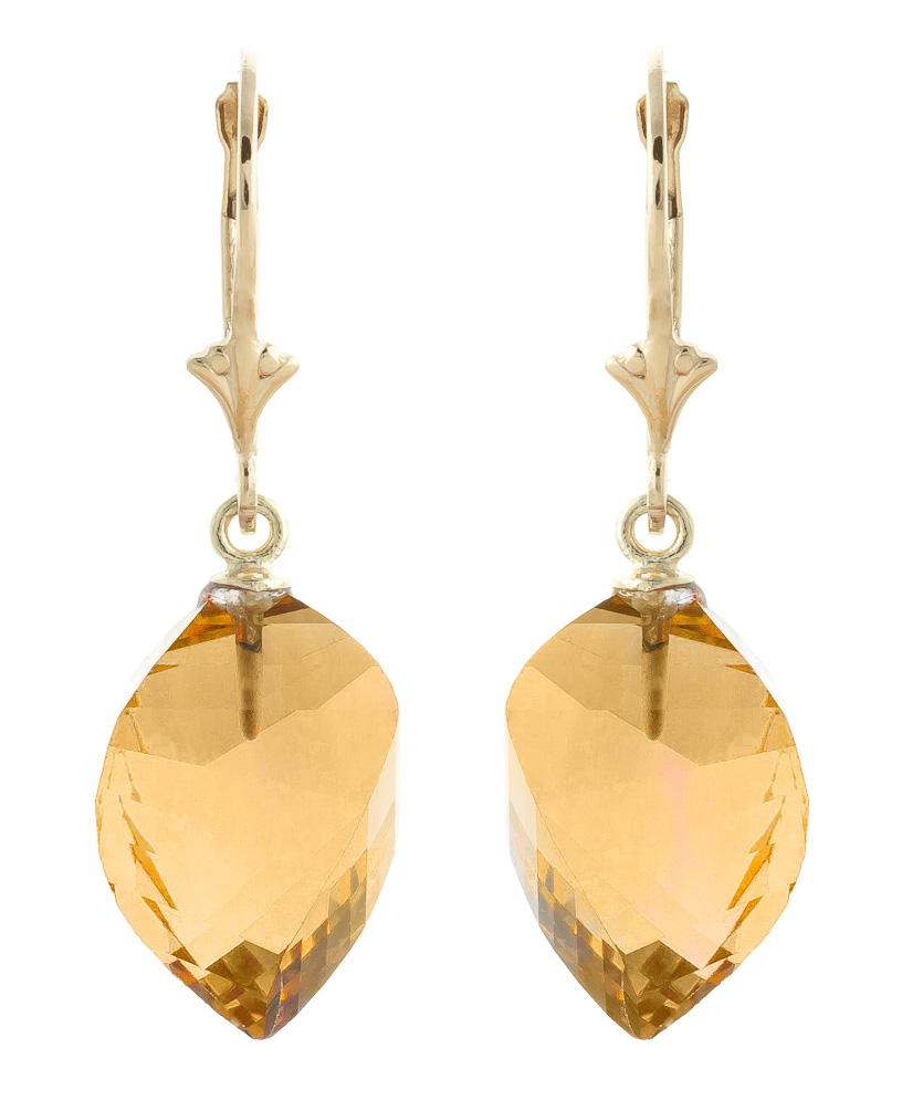 Bargain Citrine Briolette Drop Earrings 23.5ctw in 9ct Gold Stockists