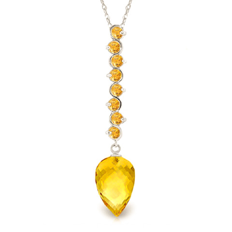 Bargain Citrine Briolette Pendant Necklace 11.05ctw in 9ct White Gold Stockists