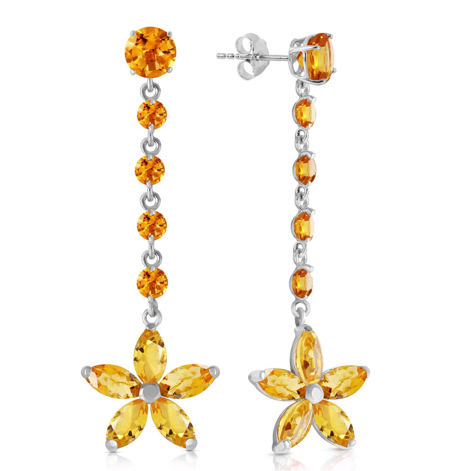 Bargain Citrine Daisy Chain Drop Earrings 4.8ctw in 9ct White Gold Stockists