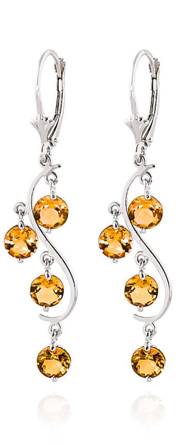 Bargain Citrine Dream Catcher Drop Earrings 4.95ctw in 9ct White Gold Stockists
