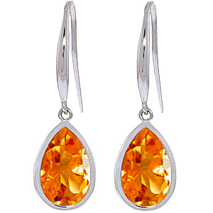 Bargain Citrine Elliptical Drop Earrings 5.0ctw in 9ct White Gold Stockists