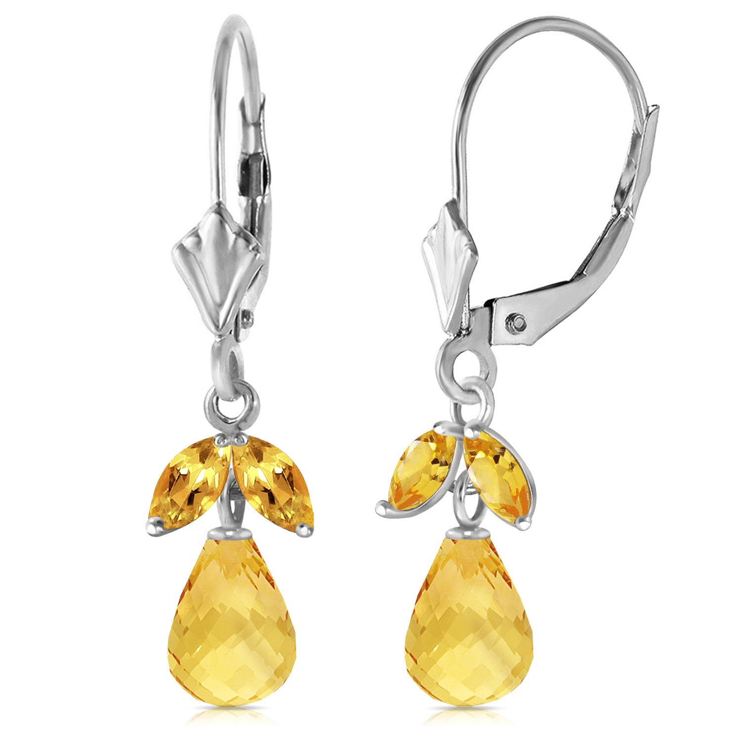 Bargain Citrine Snowdrop Briolette Earrings 3.4ctw in 9ct White Gold Stockists