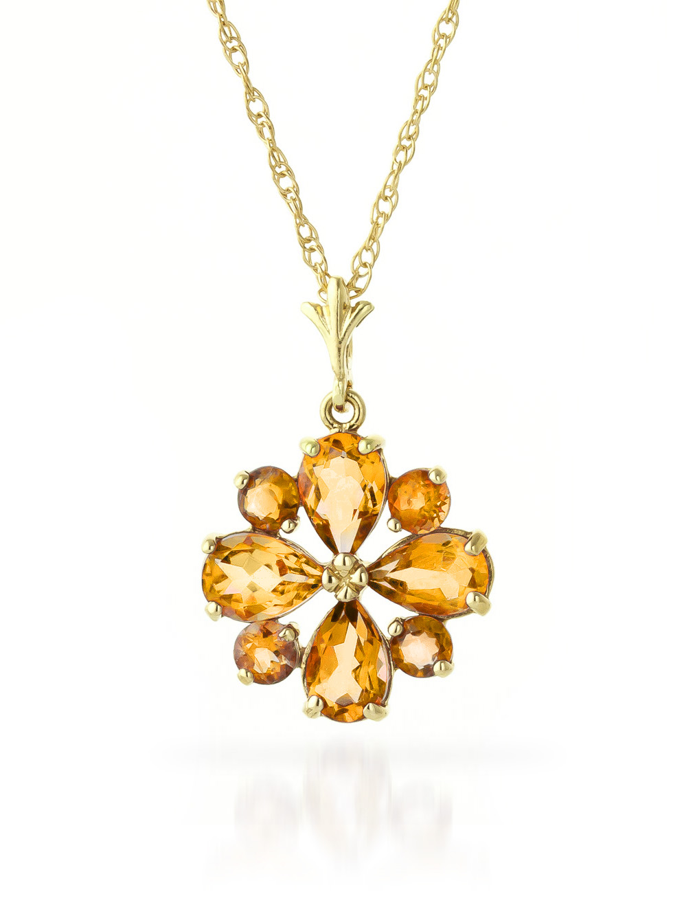 Bargain Citrine Sunflower Pendant Necklace 2.43ctw in 9ct Gold Stockists