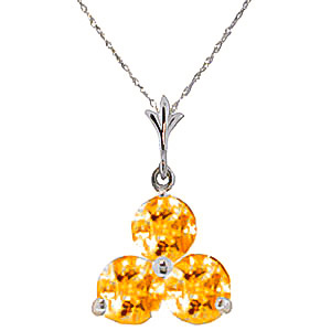 Bargain Citrine Trinity Pendant Necklace 0.75ctw in 9ct White Gold Stockists