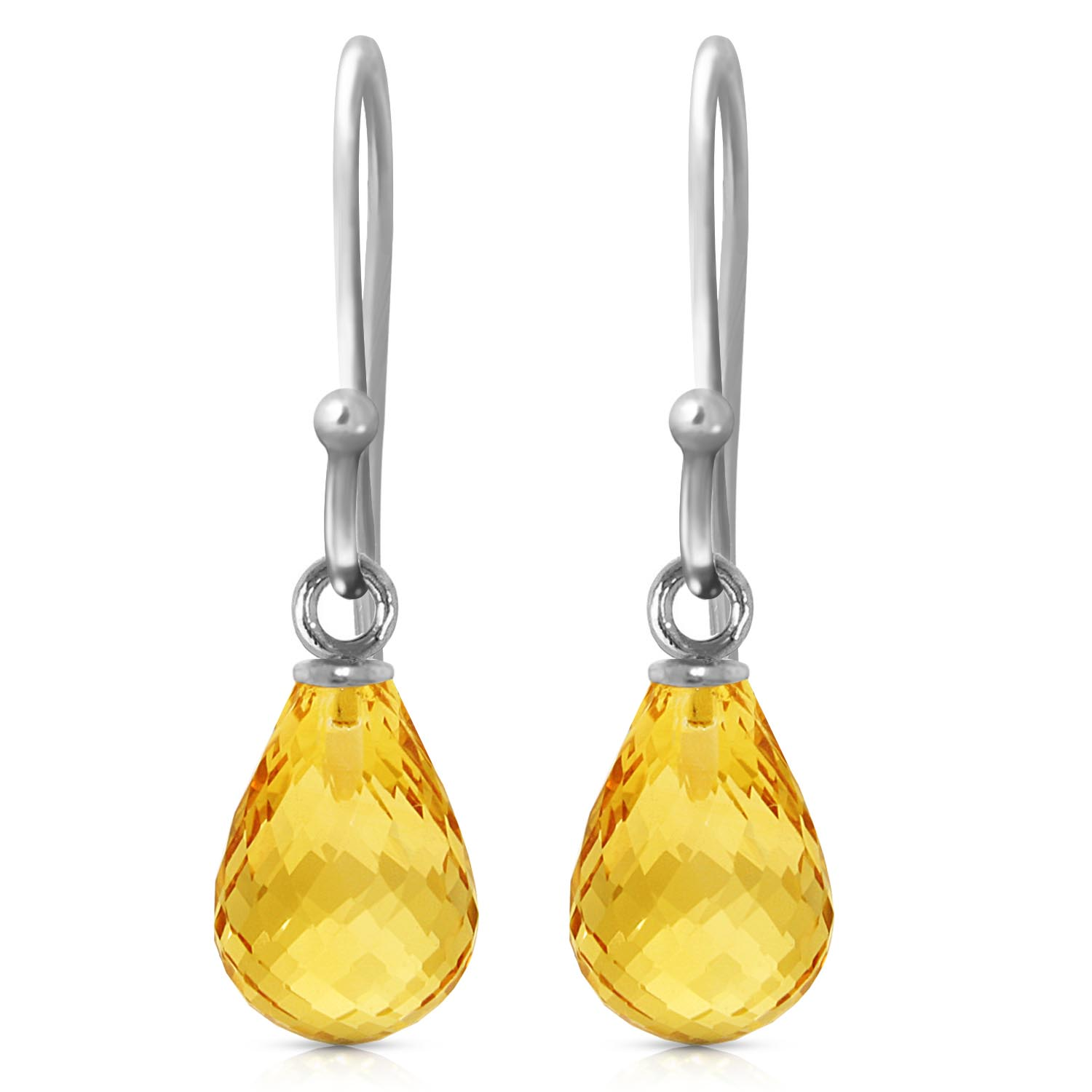 Bargain Citrine Zeal Briolette Drop Earrings 2.7ctw in 9ct White Gold Stockists