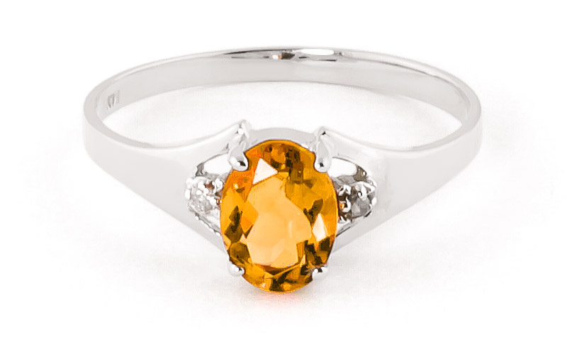 Bargain Citrine and Diamond Desire Ring 0.75ct in 9ct White Gold Stockists