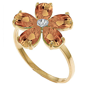 Bargain Citrine and Diamond Five Petal Ring 2.2ctw in 9ct Gold Stockists