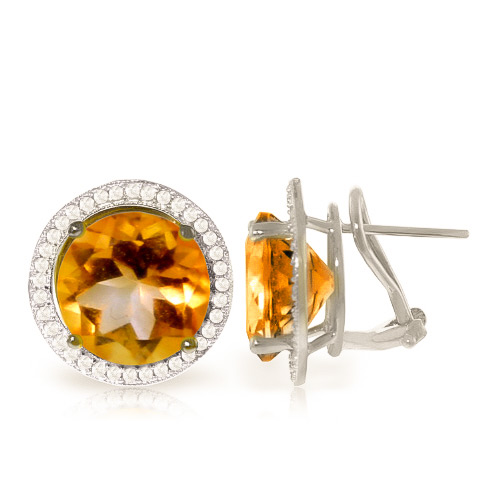 Bargain Citrine and Diamond French Clip Halo Earrings 12.0ct in 9ct White Gold Stockists