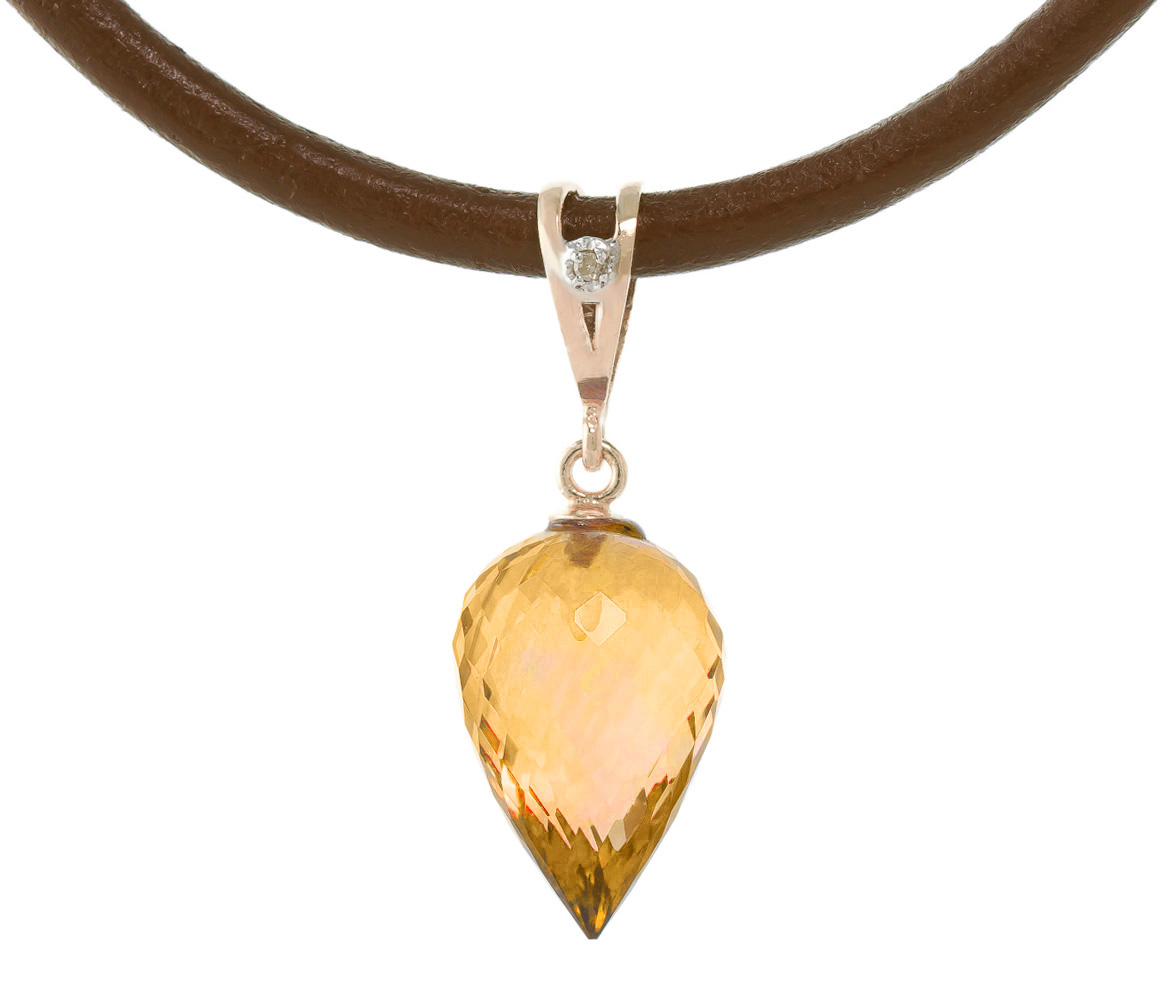 Bargain Citrine and Diamond Leather Pendant Necklace 9.5ct in 9ct Rose Gold Stockists