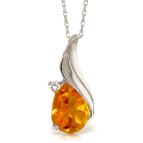 Bargain Citrine and Diamond Pendant Necklace 1.5ct in 9ct White Gold Stockists