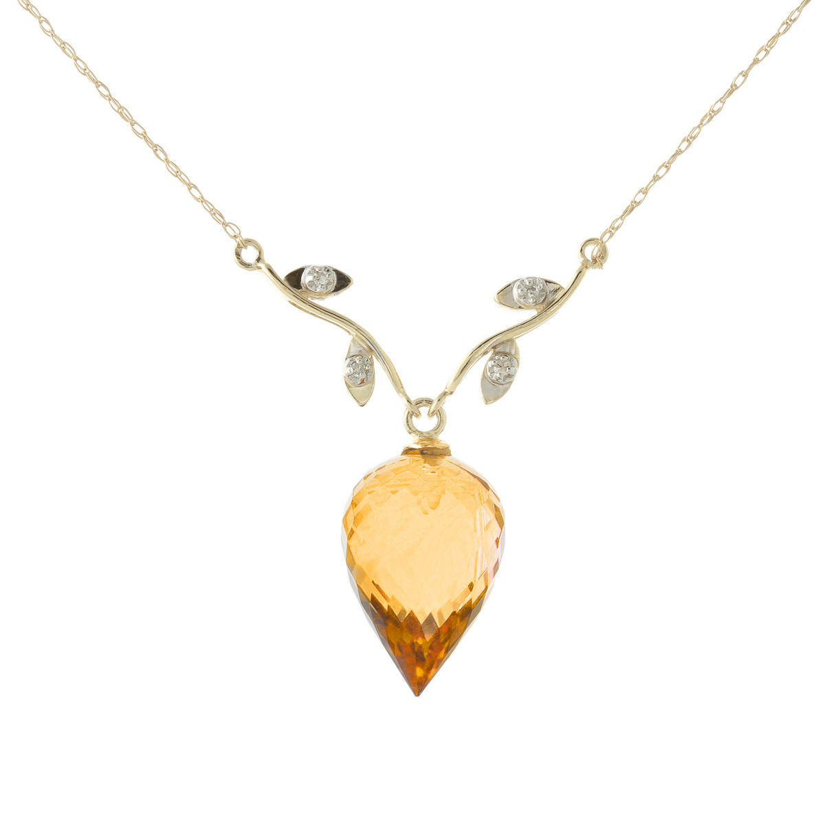 Bargain Citrine and Diamond Pendant Necklace 9.5ct in 9ct Gold Stockists
