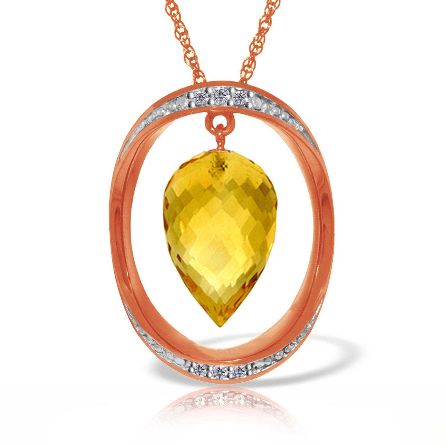 Bargain Citrine and Diamond Pendant Necklace 9.5ct in 9ct Rose Gold Stockists