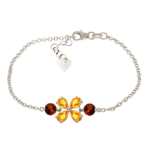 Bargain Citrine and Garnet Adjustable Bracelet 3.15ctw in 9ct White Gold Stockists
