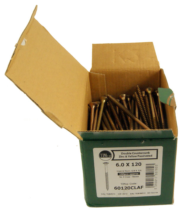 Stockists of Classic Yellow Passivated CSK Woodscrews Boxed